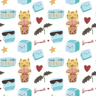 Cute colorful brown sugar boba milk tea drink doodle seamless pattern