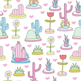 Cute colorful cactus seamless pattern