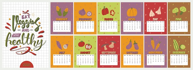 Cute colorful  calendar.