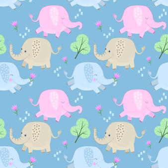 Cute colorful cartoon elephant seamless pattern.