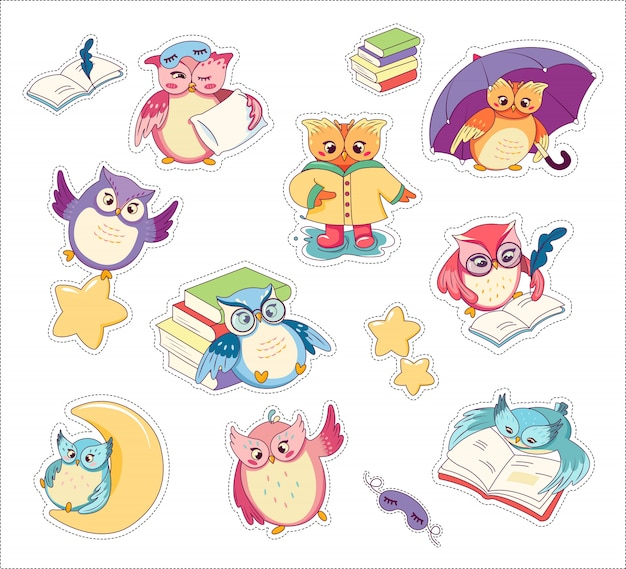 Cute colorful cartoon owls set stickers flat.