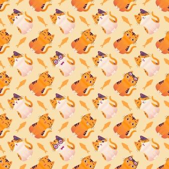 귀여운 화려한 고양이 새끼 고양이 완벽 한 패턴 일러스트