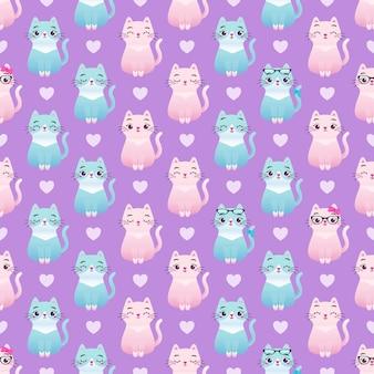 Cute colorful cat kitten seamless pattern