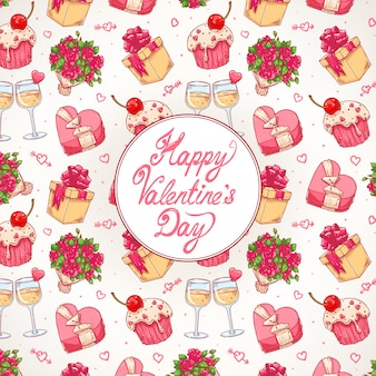 Cute colorful celebratory background for valentine's day with a bouquet of roses, champagne glasses and gifts