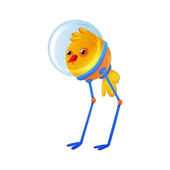 Cute colorful chicken alien in spacesuit cartoon