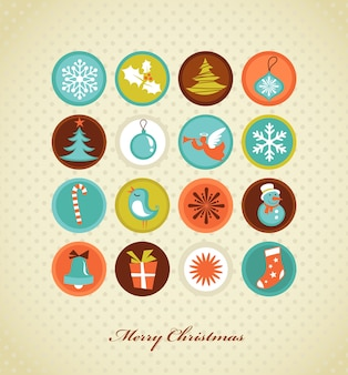 Cute colorful christmas icons set.  illustration template for poster, banner or greeting card
