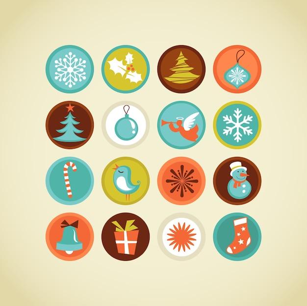 Cute colorful christmas icons set.  illustration