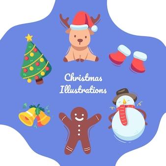 冬のかわいいカラフルなクリスマス