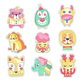 Cute colorful cloth patches set, embroidery or applique for decoration kids clothing cartoon  illustrations