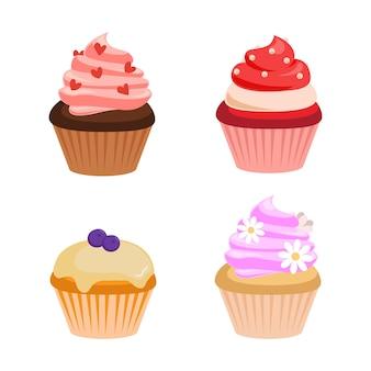 さまざまな味と色のかわいいカラフルなクリームカップケーキ。フラットデザートデコレーションクリップアートセット。