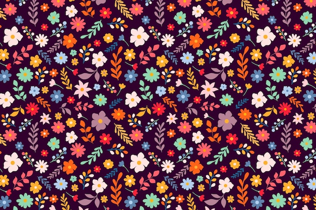 Cute colorful ditsy floral print background