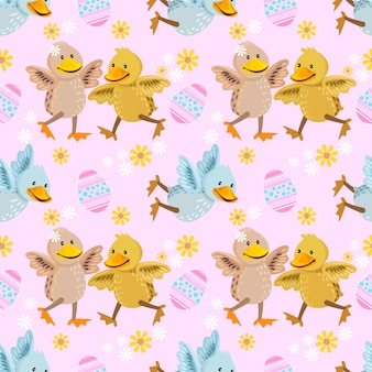 Cute colorful duckling seamless pattern.