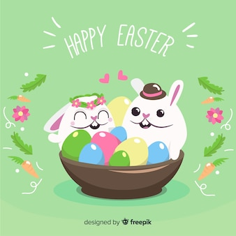 Cute and colorful easter bunny illustration