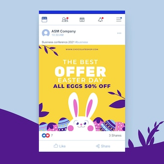 Cute colorful easter facebook post
