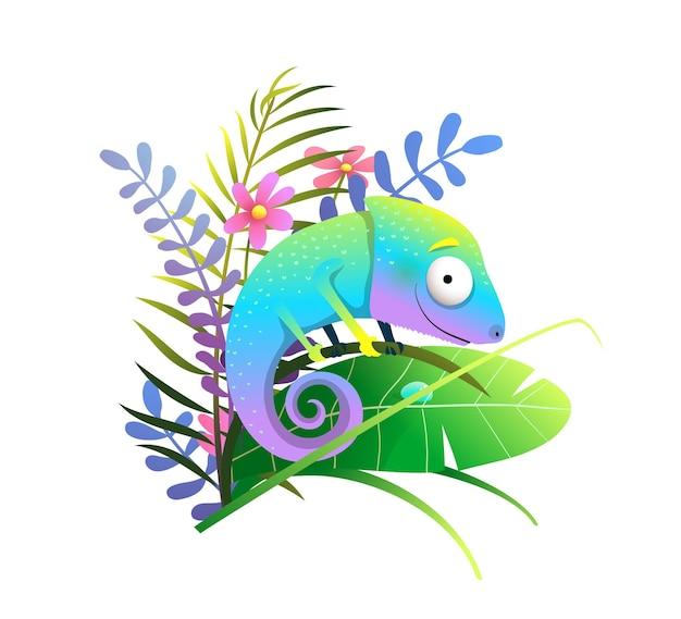여러 가지 빛깔의 열대 숲 잎과 꽃이 있는 정글의 귀여운 다채로운 이국적인 카멜레온