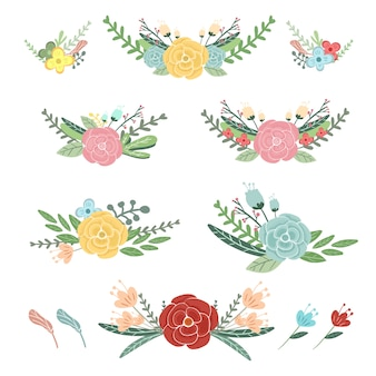 Cute colorful flowers collection illustration set.
