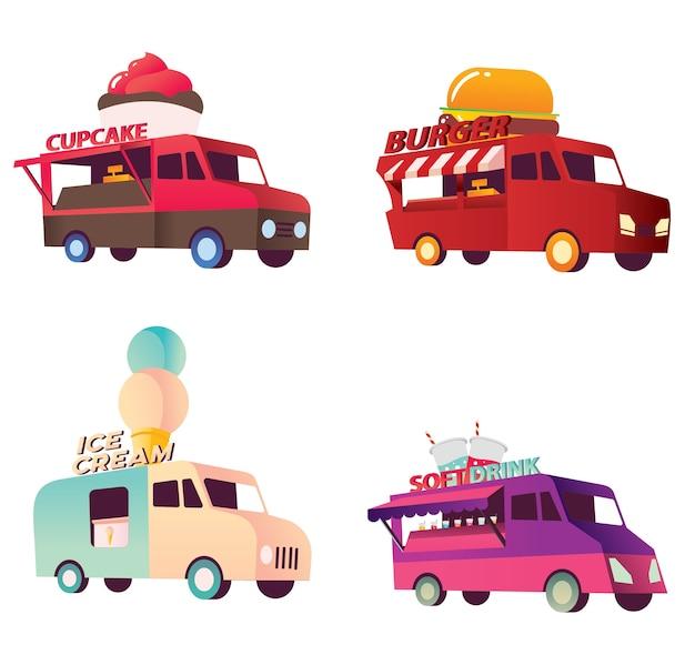 귀여운 다채로운 음식 트럭