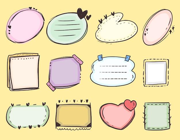 낙서 컬렉션 그리기 목록을 할 귀여운 다채로운 프레임 노트