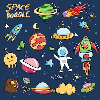 Cute colorful galaxy space doodle cartoon drawing collection set