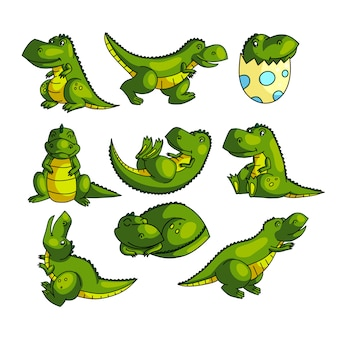 さまざまなポーズでかわいいカラフルな緑の恐竜のキャラクター