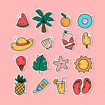 Cute colorful hand drawn summer sticker collection