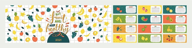 キュートでカラフルな水平カレンダー。すべての月の面白いスカンジナビアスタイルのフルーツのイラストを使用した年間食事プランナー