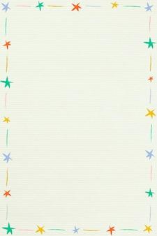 Симпатичная красочная иллюстрированная звездная рамка на бежевом фоне