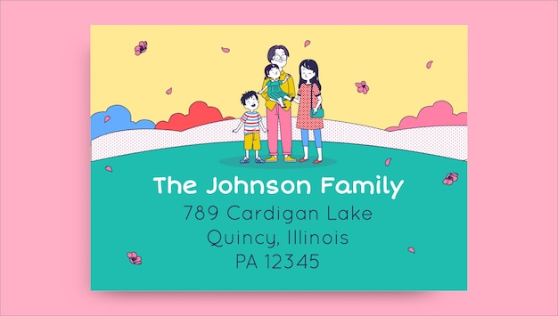 Cute colorful the johnson's family label