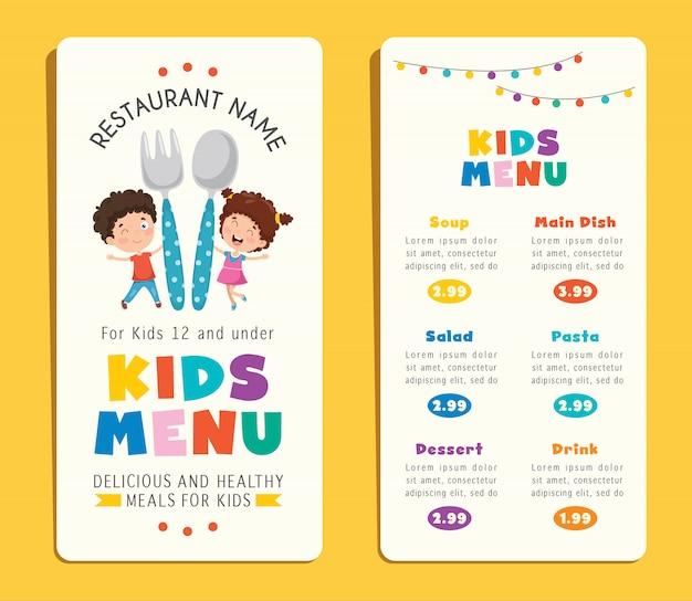 귀여운 다채로운 어린이 식사 메뉴 템플릿
