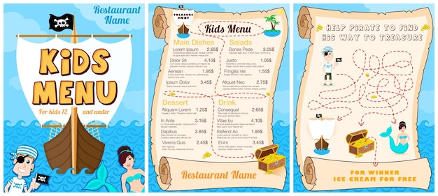 해적 게임 인어와 귀여운 다채로운 어린이 식사 메뉴