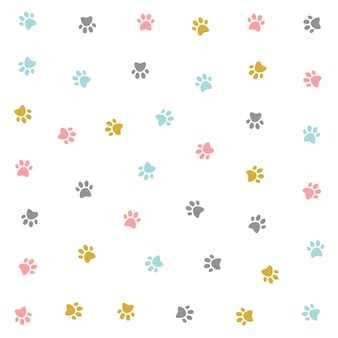 Cute colorful kitten pow pattern design
