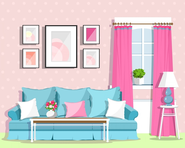 Cute colorful living room interior design with furniture. retro style room. flat style illustration