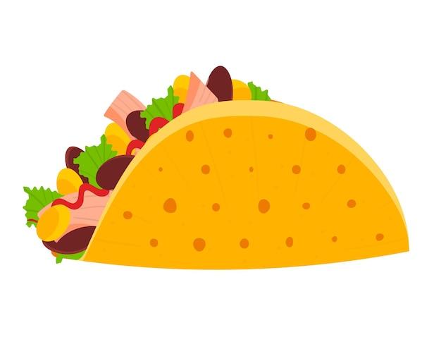 Симпатичный красочный мексиканский символ тако