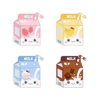 다양한 맛의 귀여운 다채로운 우유 포장