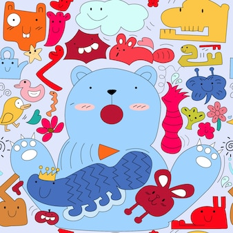 Cute colorful monster animal doodle cartoon seamless pattern