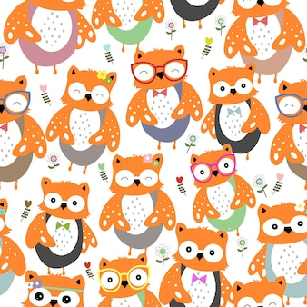 Cute colorful owl cartoon seamless pattern.