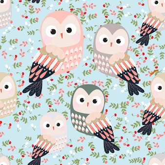 Cute colorful owl seamless pattern