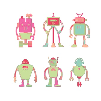 Cute colorful robot icon set