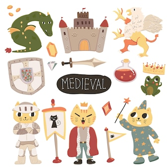Cute colorful scandinavian style medieval doodle illustration