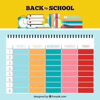 Симпатичный красочный шаблон расписания школы