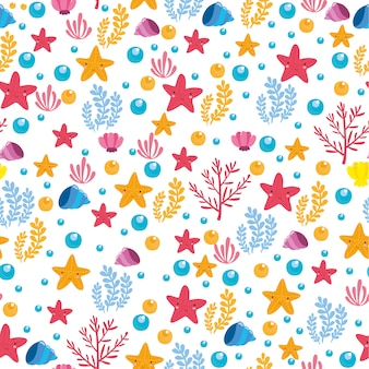 Cute and colorful sea pattern
