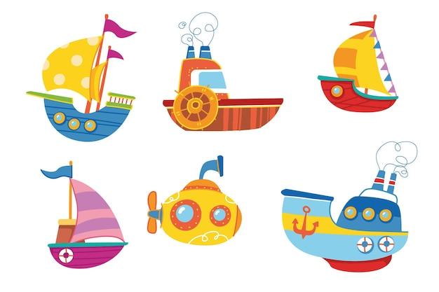 Милый красочный набор векторных лодок. корабль детский принт яркий. для декора открыток, одежды, стикеров, клипарт. детский мультяшный транспорт. путешествие летом в круиз на воде искусство