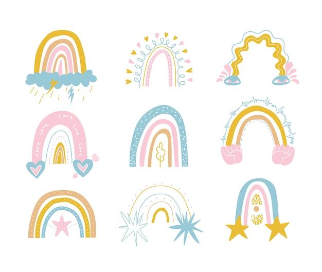 Cute colorful set of rainbows in gentle tones