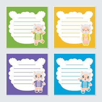귀여운 다채로운 양 소년 프레임 벡터 만화 일러스트 레이션