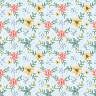 Cute colorful small flowers seamless pattern.