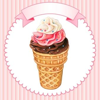 뿌리와 귀여운 다채로운 소프트 아이스크림