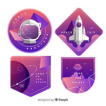 Cute colorful space stickers collection