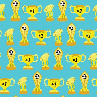 Cute colorful sport trophy hand drawn seamless pattern