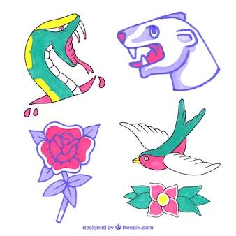 Cute colorful tattoos