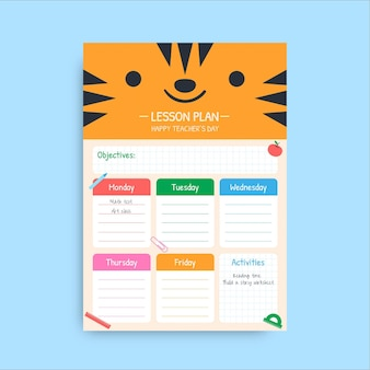 Cute colorful teacher's day school lesson plan